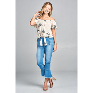 Women Flounce Off The Shoulder Front Self Tie All Over Embo Crinkle Gauze Woven Top Tops