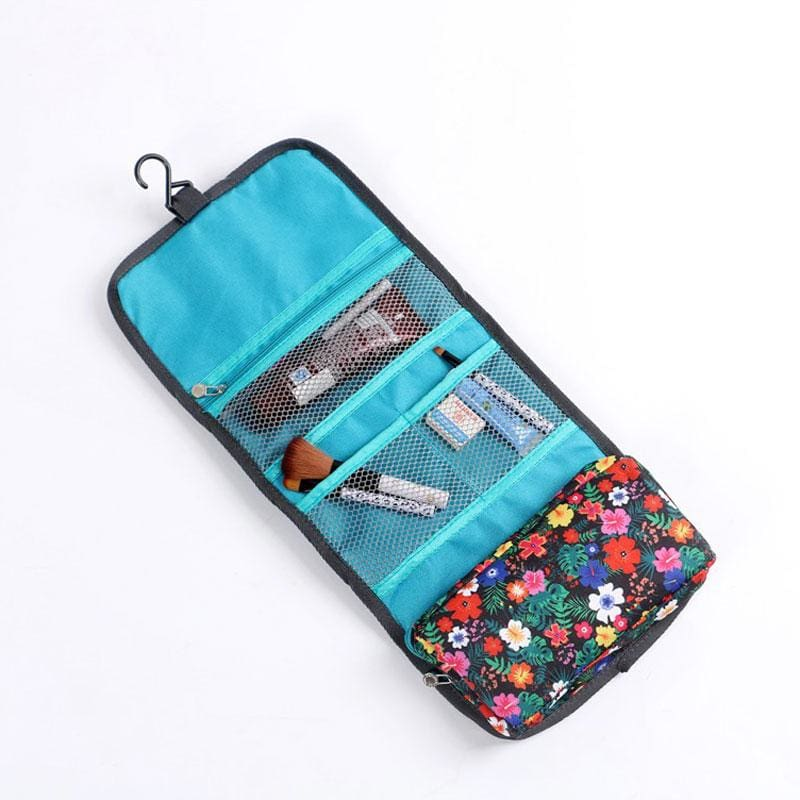 Women Fordable Cosmetic Bag Organizer Travel Portable Case In 4 Colors Blue Cosmetic Bag