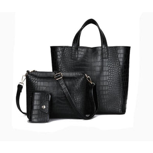 Women Handbag 3 Pcs Set Composite Tote Bag In 4 Colors Black / 29X28X13Cm Tote Bag