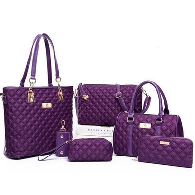 Women Handbag 6 Pieces Set Oxford Satchel Bags 4 Colors Satchels