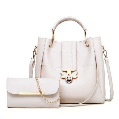 Women Handbag Bee Decoration Quality Leather Shoulder Bag In 6 Colors Beige / 30X29X12Cm Shoulder Bag