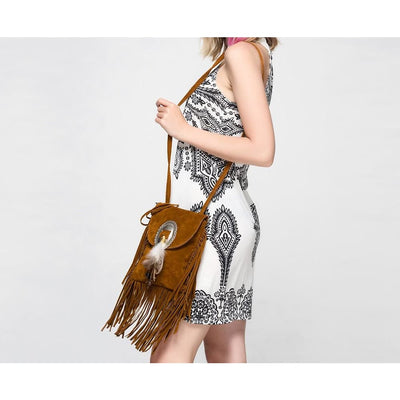 Women Handbag Boho With Fringe Feather Tassel Cross Body Bag In 3 Colors Cross Body Bag