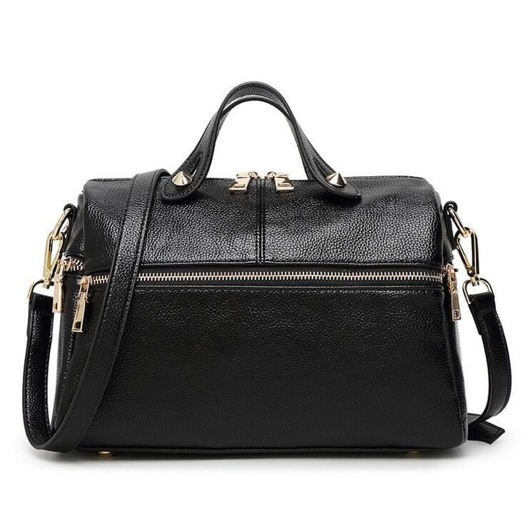 Women Handbag Boston Zipper Litchi Leather Shoulder Bags 3 Colors Black / (30Cm<Max Length<50Cm) Shoulder Bag