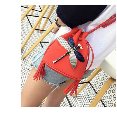 Women Handbag Bucket Dragonfly Cross-Body Bags 5 Colors Shoulder Bag