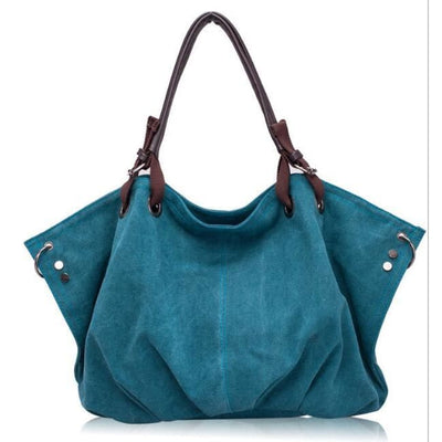Women Handbag Canvas Casual Large Capacity Hobos Shoulder Bag In 6 Colors Blue / 42X33X13Cm Shoulder Bag