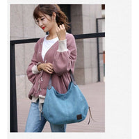 Women Handbag Canvas Rivet Large Capacity Shoulder Bag 6 Colors Shoulder Bag