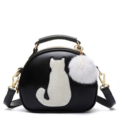 Women Handbag Cartoon Cat Pu Leather Tote Bag Cross Body