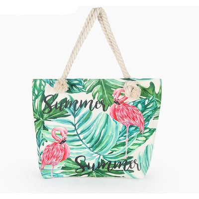 Women Handbag Flamingo Printed Canvas Beach Tote Bag 3 Colors Tote Bag
