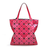 Women Handbag Folded Geometric Plaid Casual Tote Bag In 13 Colors Hot Pink / (30Cm<Max Length<50Cm) Tote Bag