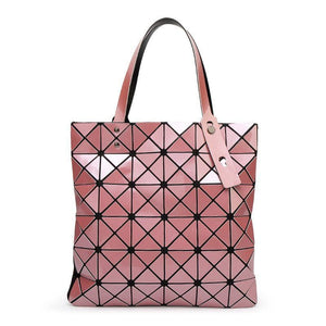 Women Handbag Folded Geometric Plaid Casual Tote Bag In 13 Colors Pink / (30Cm<Max Length<50Cm) Tote Bag