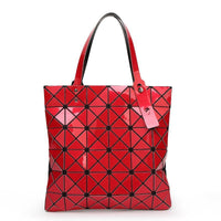 Women Handbag Folded Geometric Plaid Casual Tote Bag In 13 Colors Red / (30Cm<Max Length<50Cm) Tote Bag