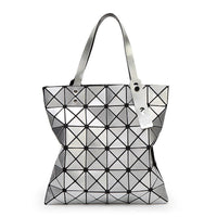 Women Handbag Folded Geometric Plaid Casual Tote Bag In 13 Colors Silver / (30Cm<Max Length<50Cm) Tote Bag