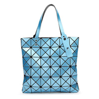Women Handbag Folded Geometric Plaid Casual Tote Bag In 13 Colors Sky Blue / (30Cm<Max Length<50Cm) Tote Bag