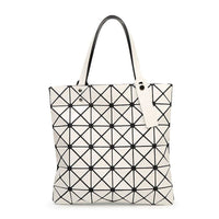 Women Handbag Folded Geometric Plaid Casual Tote Bag In 13 Colors White / (30Cm<Max Length<50Cm) Tote Bag