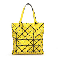 Women Handbag Folded Geometric Plaid Casual Tote Bag In 13 Colors Yellow / (30Cm<Max Length<50Cm) Tote Bag