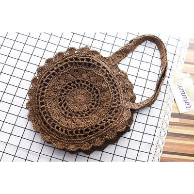 Women Handbag Handmade Knitted Bohemian Straw Circle Tote Bag 3 Colors Tote Bag