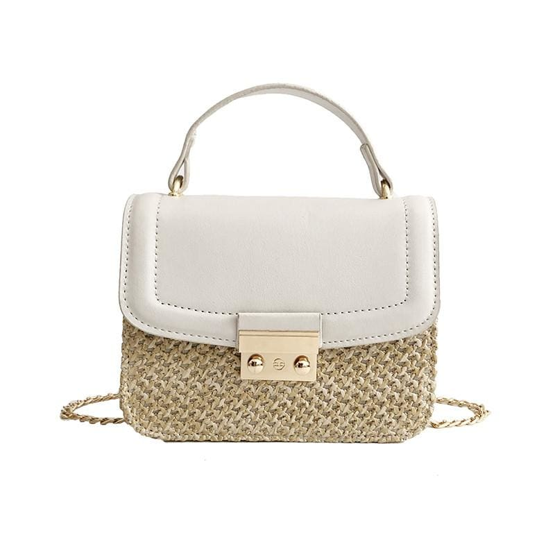 Women Handbag Knitted Hasp Weave Pattern Chain Strap Satchel Bag 5 Colors White / 18X15X6Cm Satchels