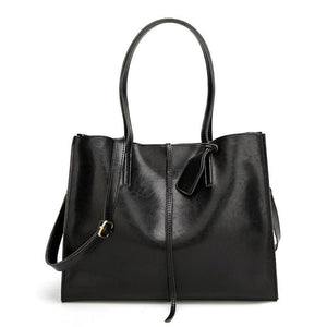 Women Handbag Large Capacity Leather High Quality Casual Tote Bags In 2 Colors Black / 30X35X12 Tote Bag