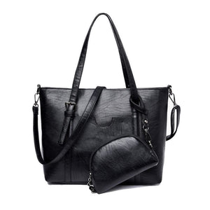 Women Handbag Leather 2 Pcs Set Top-Handle Tote Bags Big Capacity Black / 32X26X12Cm Tote Bag