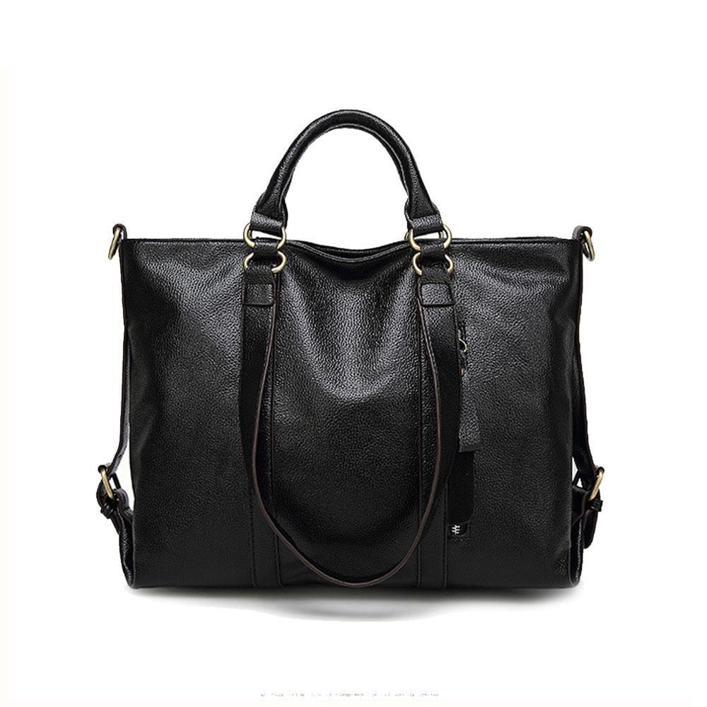 Women Handbag Lichee Dual Side Buckle Belt Shoulder Bag In 6 Colors Black / 33X27X12Cm Shoulder Bag