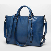 Women Handbag Lichee Dual Side Buckle Belt Shoulder Bag In 6 Colors Lake Blue / 33X27X12Cm Shoulder Bag