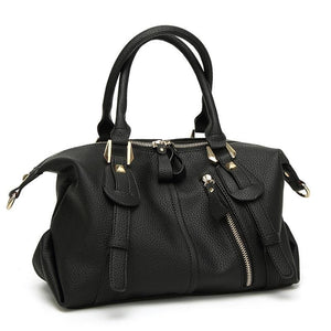 Women Handbag Litchi Pattern Pu Leather Casual Solid Shoulder Bag 3 Color Black / 28X18X12Cm Shoulder Bag