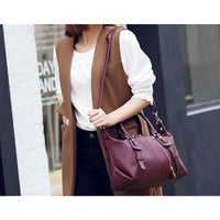 Women Handbag Litchi Pattern Pu Leather Casual Solid Shoulder Bag 3 Color Shoulder Bag