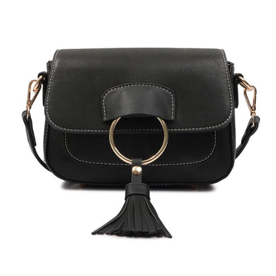 Women Handbag Pu Leather Tassel Saddle Patchwork Shoulder Bag 3 Colors Shoulder Bag