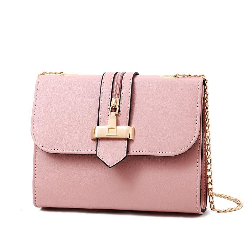 Women Handbag Quality Leather Chain Strap Cross Body Bag In 6 Colors Pink / 23X16X10Cm Cross Body Bag