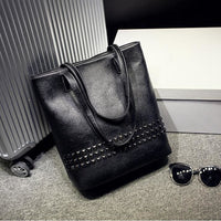 Women Handbag Rivet Autumn Large Capacity Shoulder Tote Bag 3 Colors Black / (30Cm<Max Length<50Cm) Tote Bag