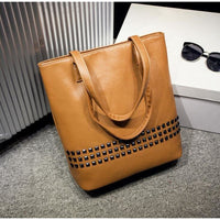 Women Handbag Rivet Autumn Large Capacity Shoulder Tote Bag 3 Colors Brown / (30Cm<Max Length<50Cm) Tote Bag