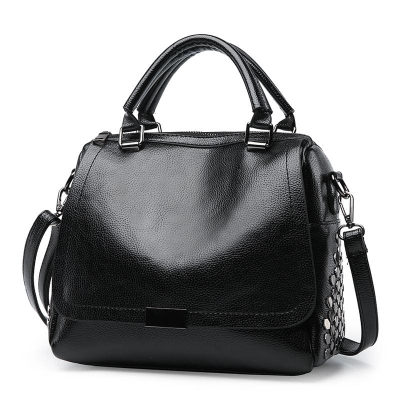 Women Handbag Rivet High Quality Pu Leather In 3 Colors Black Satchels