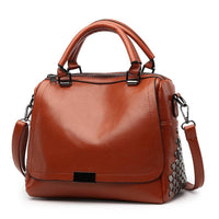 Women Handbag Rivet High Quality Pu Leather In 3 Colors Brown Satchels