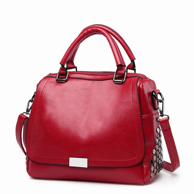 Women Handbag Rivet High Quality Pu Leather In 3 Colors Burgundy Satchels