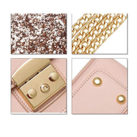 Women Handbag Sequined Quality Leather Chain Strap Cross Body 3 Colors Cross Body Bag