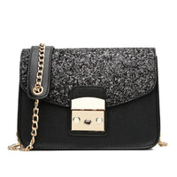 Women Handbag Sequined Quality Leather Chain Strap Cross Body 3 Colors Black / 20X15X9 Cm Cross Body Bag