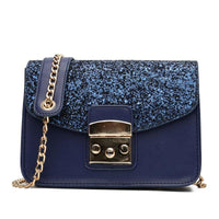 Women Handbag Sequined Quality Leather Chain Strap Cross Body 3 Colors Blue / 20X15X9 Cm Cross Body Bag