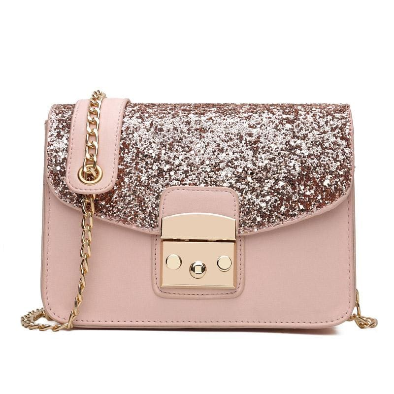 Women Handbag Sequined Quality Leather Chain Strap Cross Body 3 Colors Pink / 20X15X9 Cm Cross Body Bag