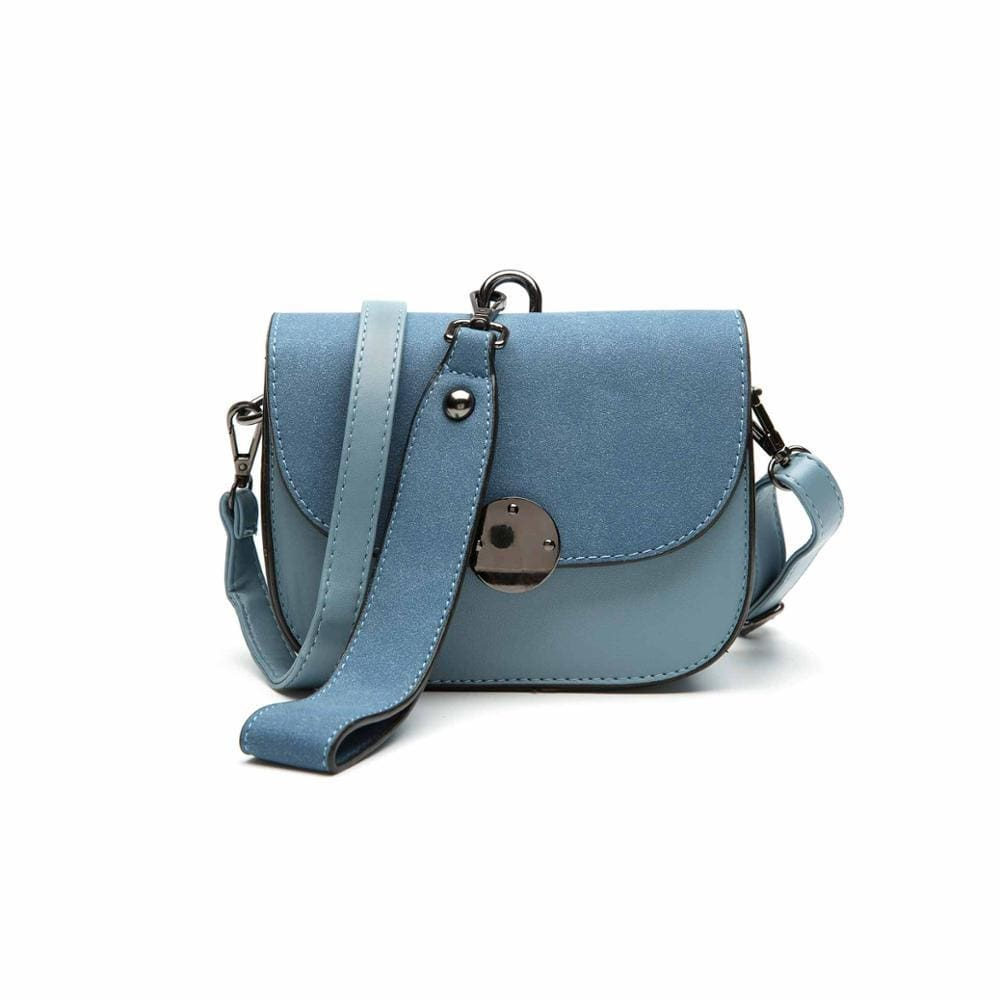 Women Handbag Vintage Saddle Pu Leather Shoulder Bag In 3 Colors Blue / 16X12X7Cm Shoulder Bag