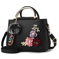 Women Handbag With Flowers Details Satchel Bag In 6 Colors Black / (20Cm<Max Length<30Cm) Satchel
