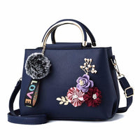 Women Handbag With Flowers Details Satchel Bag In 6 Colors Blue / (20Cm<Max Length<30Cm) Satchel