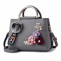 Women Handbag With Flowers Details Satchel Bag In 6 Colors Gray / (20Cm<Max Length<30Cm) Satchel
