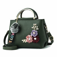 Women Handbag With Flowers Details Satchel Bag In 6 Colors Green / (20Cm<Max Length<30Cm) Satchel