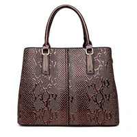 Women Handbags Pu Leather Luxury Snake Design High Quality Satchel 4 Colors Brown / (30Cm<Max Length<50Cm) Satchels