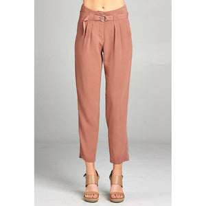 Women High Rise W/double Metal Trim Belt Long Leg Woven Trousers