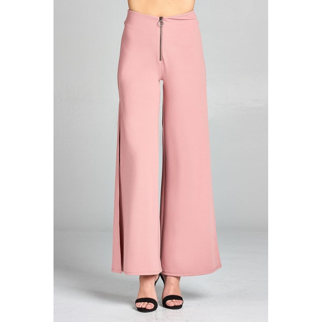 Women High Waist Front Zipper Detail Side Slit Long Pants Pants