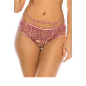 Women High Waist Jacquard Mesh Thong Panties