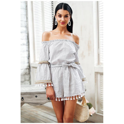 26be7fe6b72c Women Jumpsuit Sexy Off Shoulder Overalls Flare Sleeve 2 Colors White   S  Jumpsuit