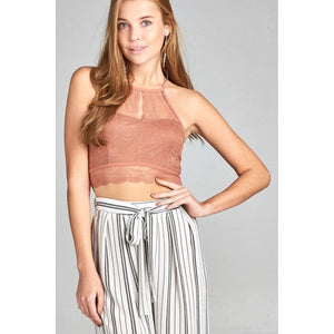 Women Lace Crop Top Dawn Pink Tops