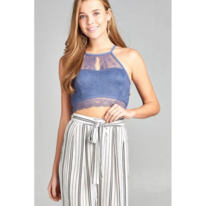 Women Lace Crop Top Dusty Blue Tops